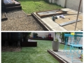 Artificial grass before and after