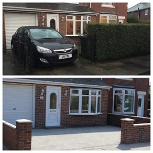 Wall and Driveway - Before and After